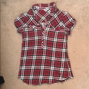 Women's plaid s/s snap front shirt
